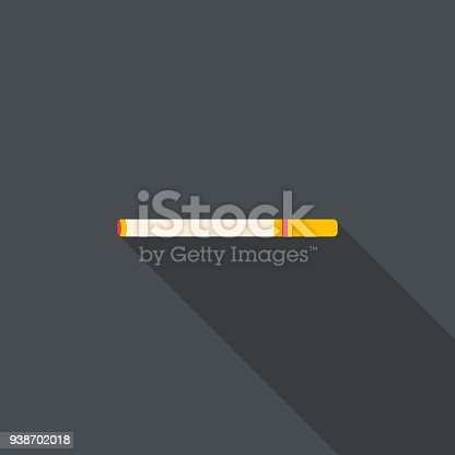 istock Smoking cigarette flat design with long shadow. 938702018