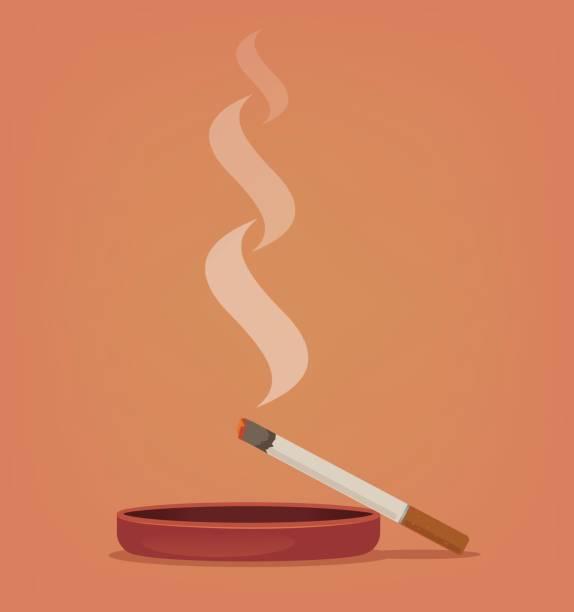 Smoking cigarette in ashtray vector art illustration