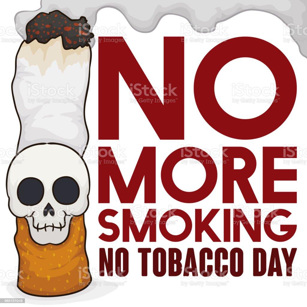 Smoking Cigarette with Skull and Sign Promoting No Tobacco Day smoking cigarette with skull and sign promoting no tobacco day - stockowe grafiki wektorowe i więcej obrazów antropomorficzna buźka royalty-free