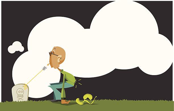 smoking damages: losing kidneys - old man smoking cigar stock illustrations, clip art, cartoons, & icons