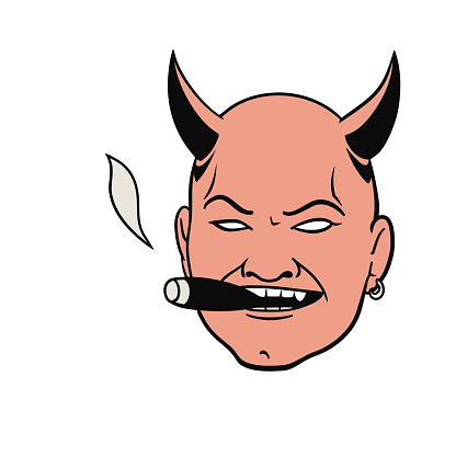 smoking devil head