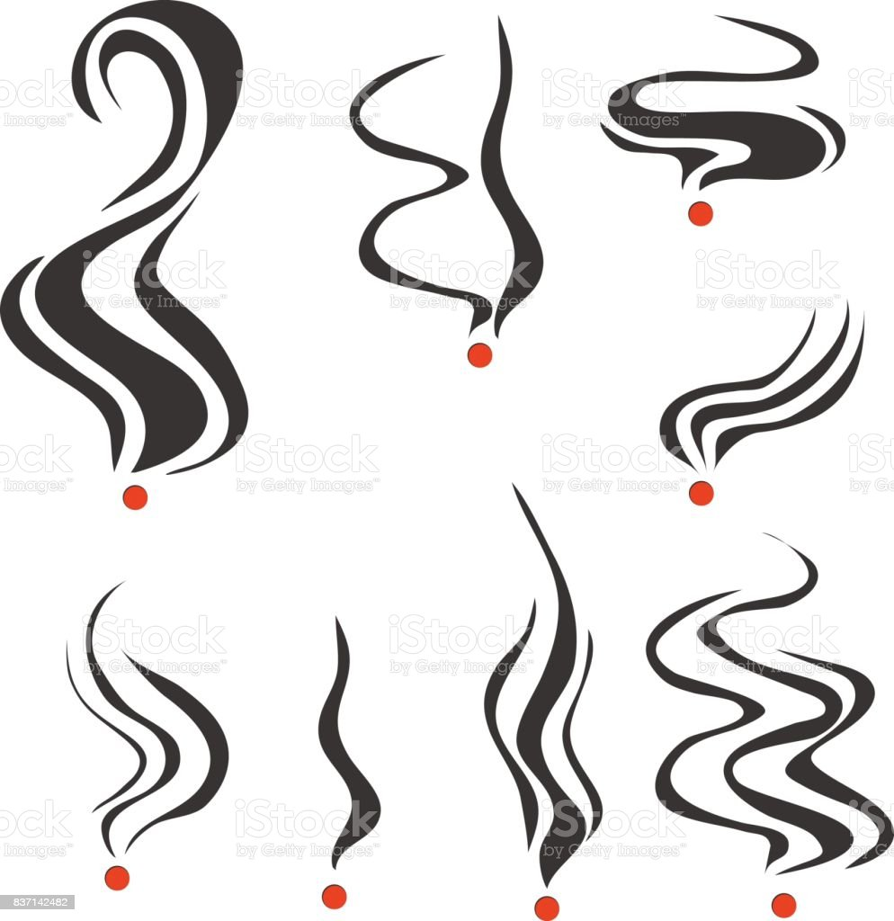 Smoking fumes line. vector art illustration
