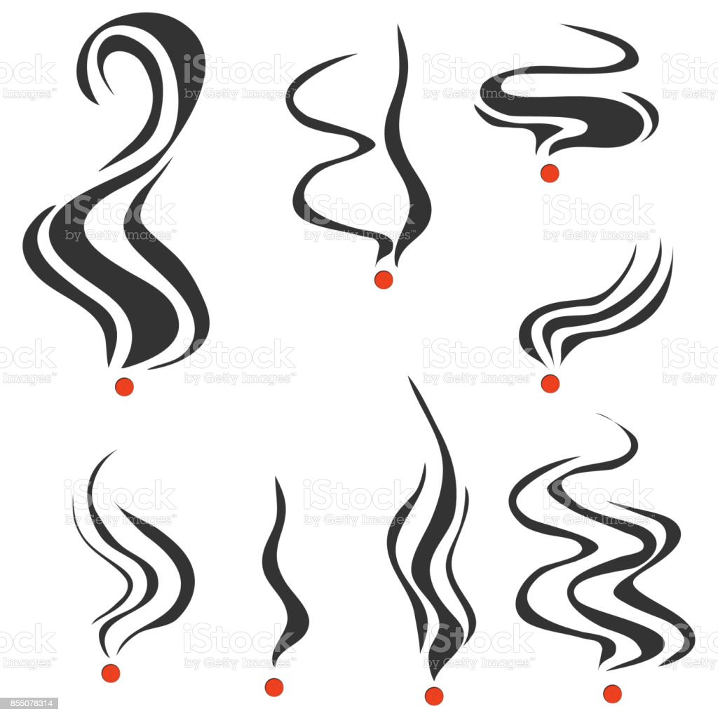 Smoking fumes line vector art illustration
