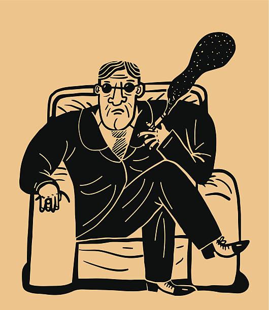 smoking ganster - old man smoking cigar stock illustrations, clip art, cartoons, & icons