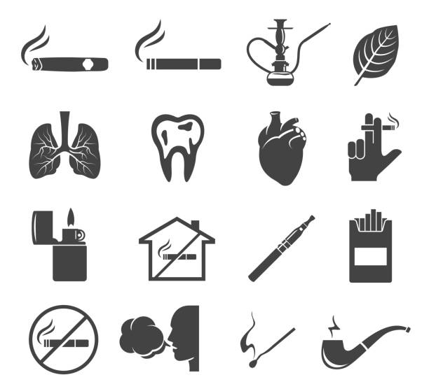 Smoking glyph icons set isolated on white background vector art illustration
