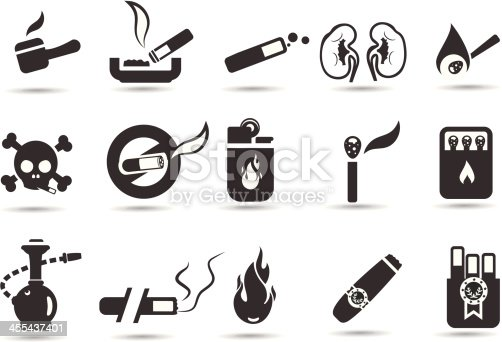 Professional vector icons series. Transparent PNG version included.  Smoking and health hazard icons by mystockicons.