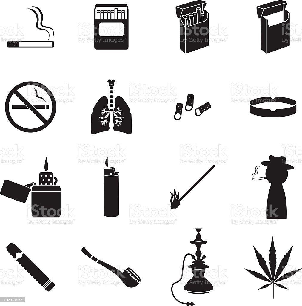 Smoking icons set vector art illustration