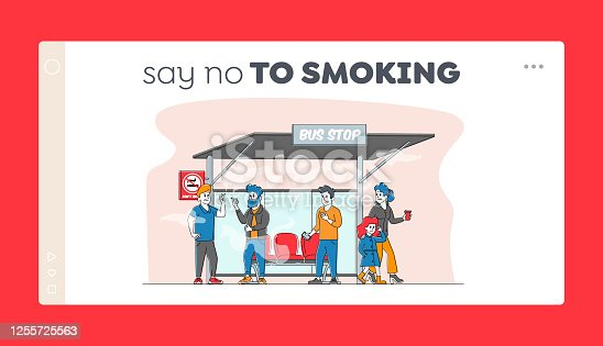 istock Smoking in Public Place, Bad Habit Landing Page Template. Male Characters Smoke near Prohibited Sign on Bus Stop with People around. Angry Woman with Child Admonish Smokers. Linear Vector Illustration 1255725563
