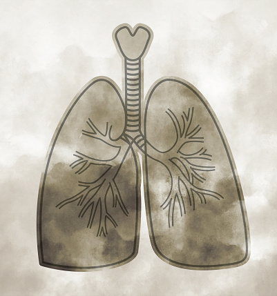 Smoking Lungs Cancer Asthma Airways Pneumonia Respirator Concept Illustration