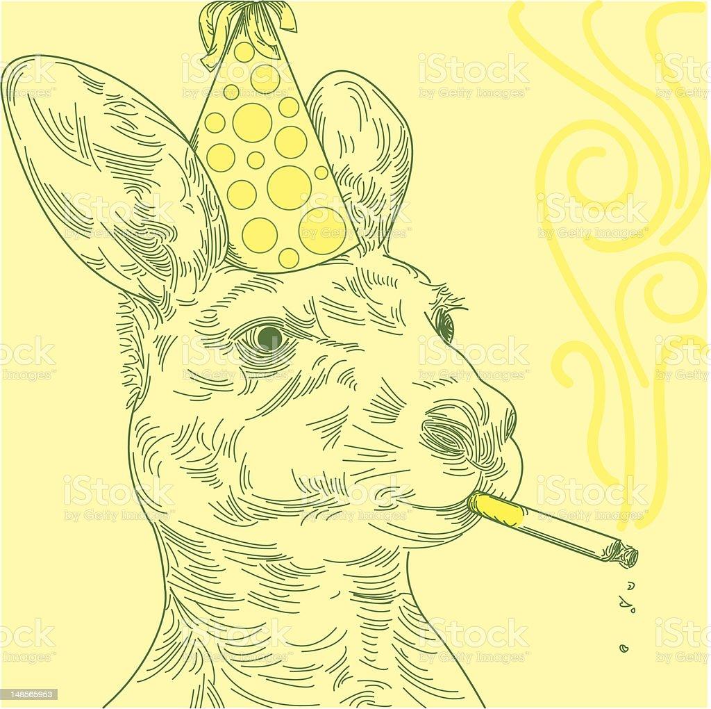 Smoking Party Kangaroo vector art illustration