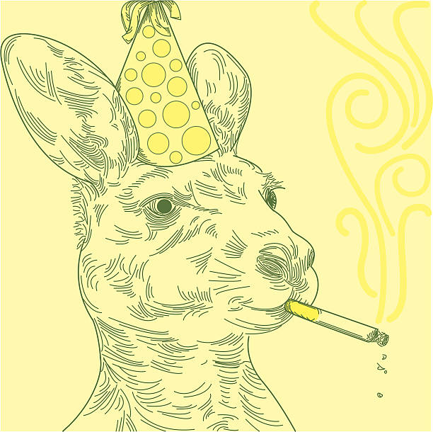 Smoking Party Kangaroo vector art illustration