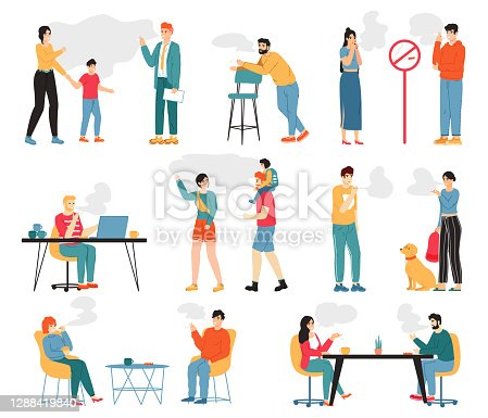 istock Smoking people. Male and female smoking characters, unhealthy lifestyle, bad habits. People smoke cigarettes vector illustration 1288419840