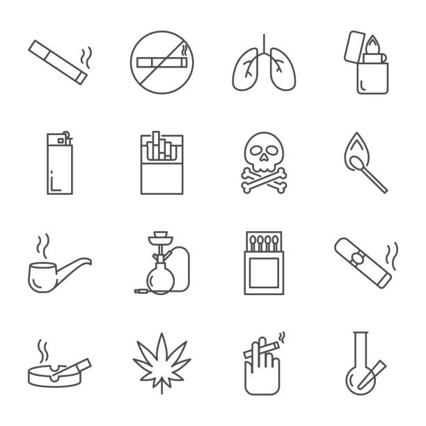 illustrazioni stock, clip art, cartoni animati e icone di tendenza di smoking set of vector icons - sigaretta