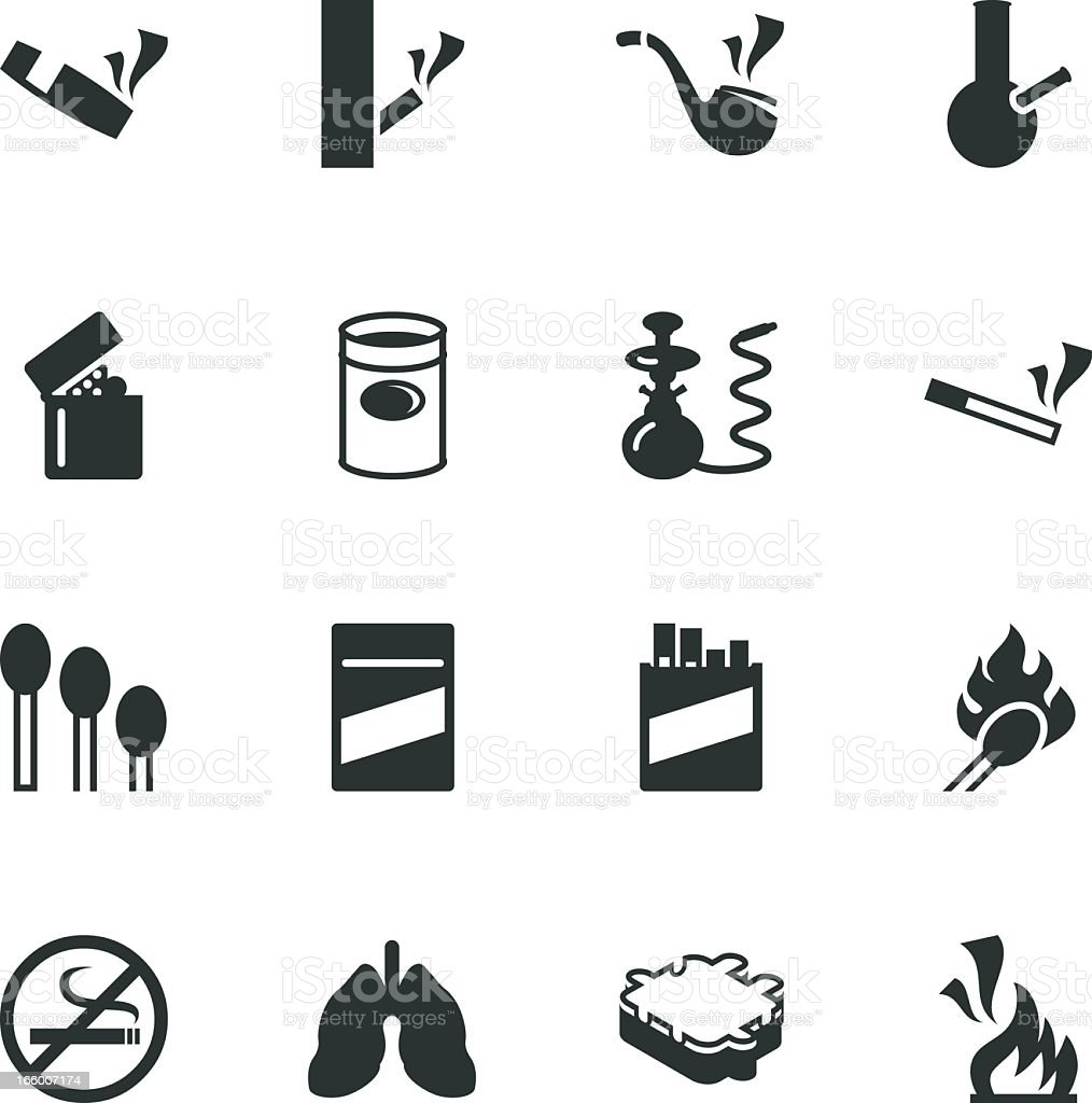 Smoking Silhouette Icons vector art illustration