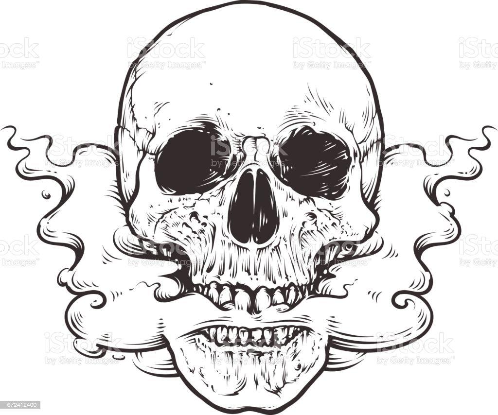 smoking skull art stock vector art more images of art 672412400 rh istockphoto com sugar skull vector art skull vector free download