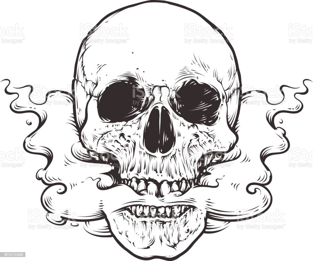 Smoking Skull Art vector art illustration