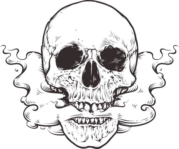 illustrations, cliparts, dessins animés et icônes de smoking skull art - tatouages de crânes
