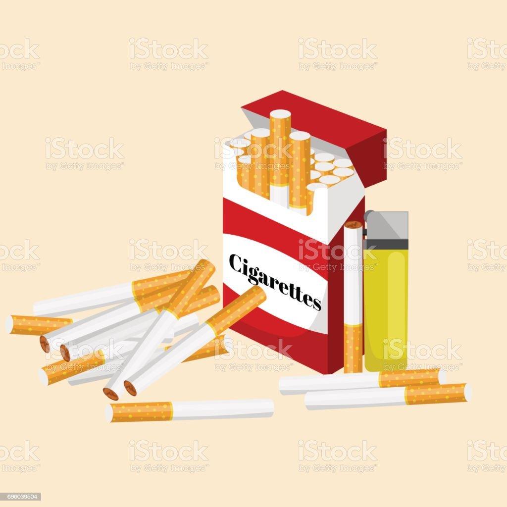 Ilustración de Fumar Cigarrillo De Tabaco Con Filtro En Caja Roja Y ...