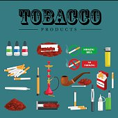 Smoking tobacco products icons set with cigarettes hookah cigars lighter