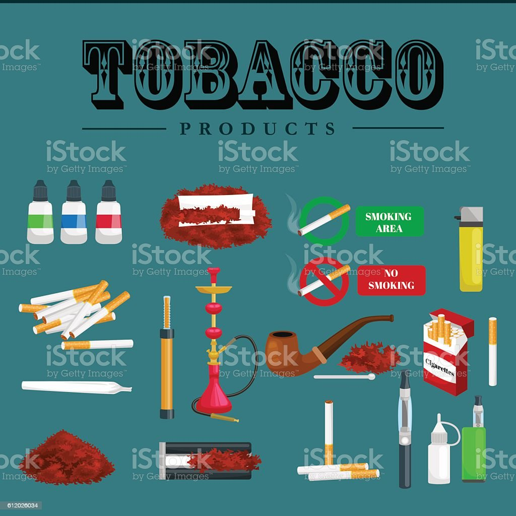 Smoking tobacco products icons set with cigarettes hookah cigars lighter vector art illustration