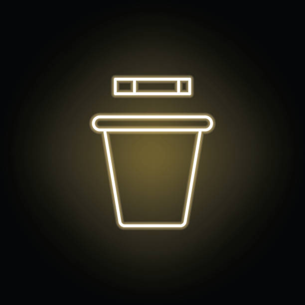 smoking trashcan line neon icon. Elements of smoking activities illustration icon. Signs and symbols can be used for web, logo, mobile app, UI, UX smoking trashcan line neon icon. Elements of smoking activities illustration icon. Signs and symbols can be used for web, logo, mobile app, UI, UX on black background dumpster fire stock illustrations