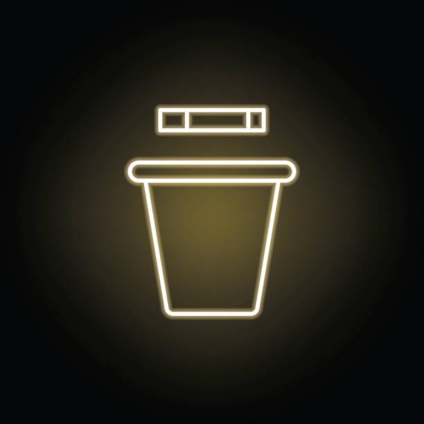 吸煙垃圾桶線霓虹燈圖示。吸煙活動元素插圖圖示。標誌和符號可用於 web、徽標、移動應用、ui、ux - dumpster fire 幅插畫檔、美工圖案、卡通及圖標