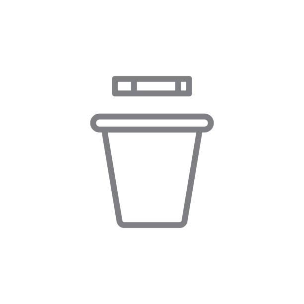 吸煙垃圾桶輪廓圖示。吸煙活動的元素插圖圖示。標誌和符號可用於網路、徽標、移動應用程式、ui、ux - dumpster fire 幅插畫檔、美工圖案、卡通及圖標