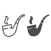 Smoking tube line and glyph icon. Tobacco pipe vector illustration isolated on white. Old tube cigar outline style design, designed for web and app. Eps 10.