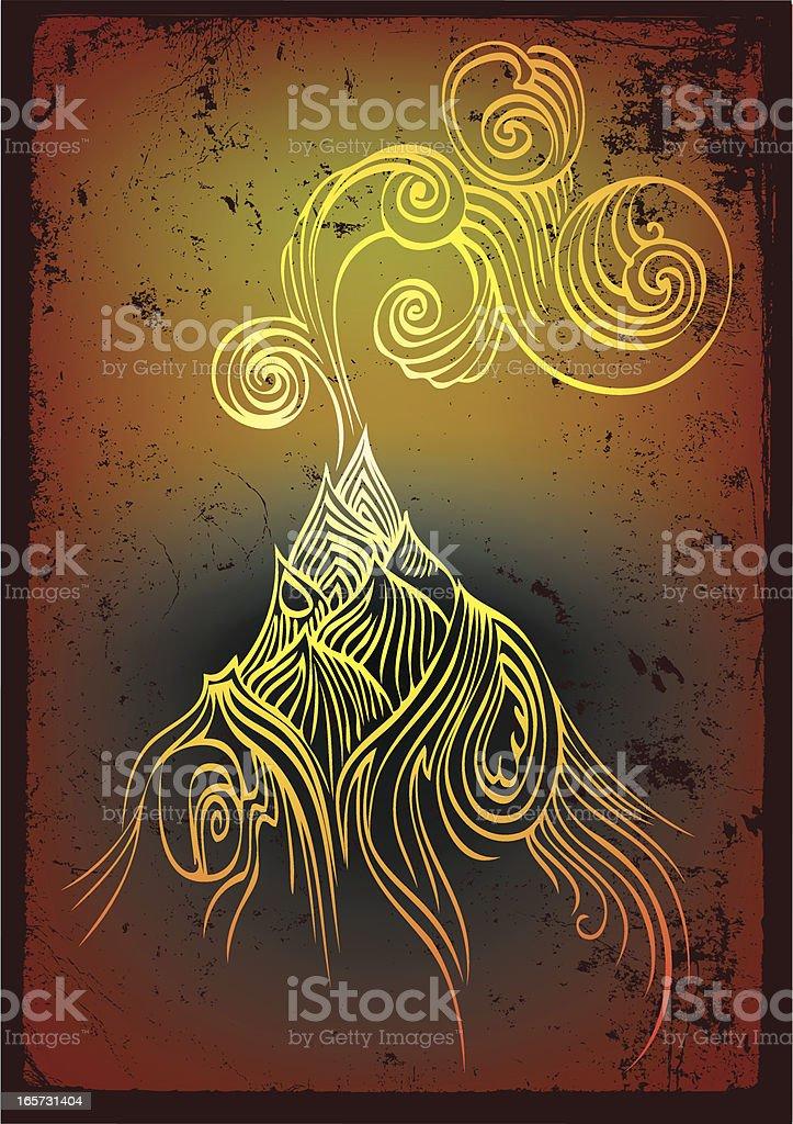 smoking volcano royalty-free stock vector art