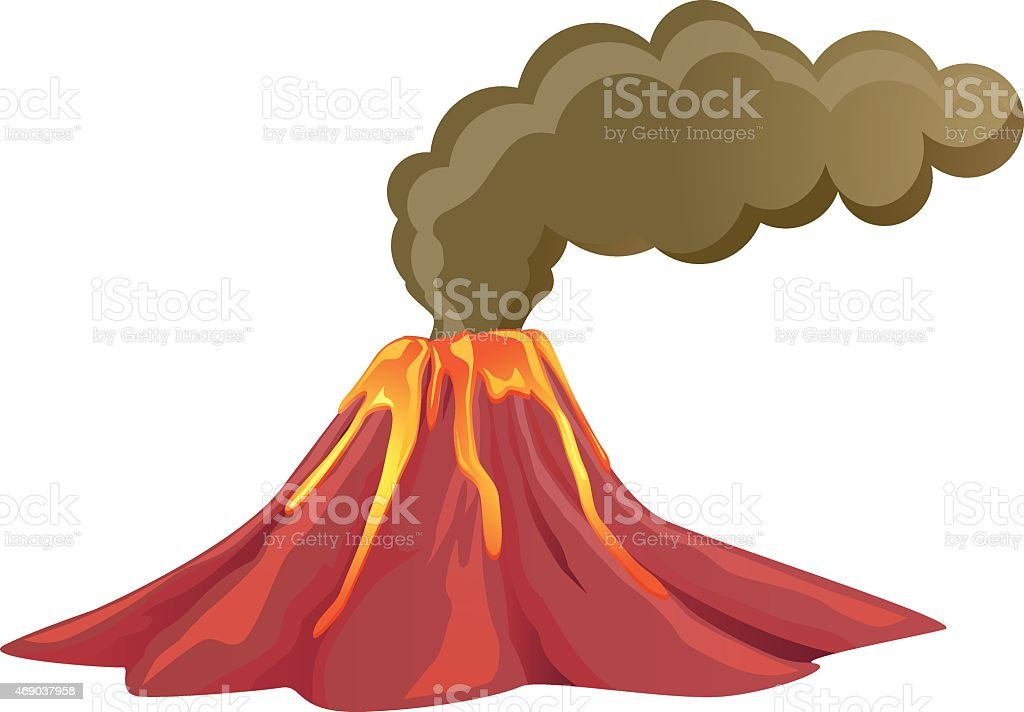 Smoking volcano with lava flowing down vector art illustration