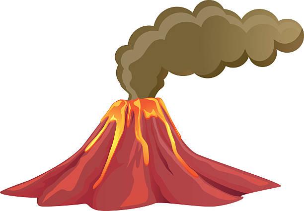 nichtraucher-vulkan mit lava fließen hinunter - vulkane stock-grafiken, -clipart, -cartoons und -symbole