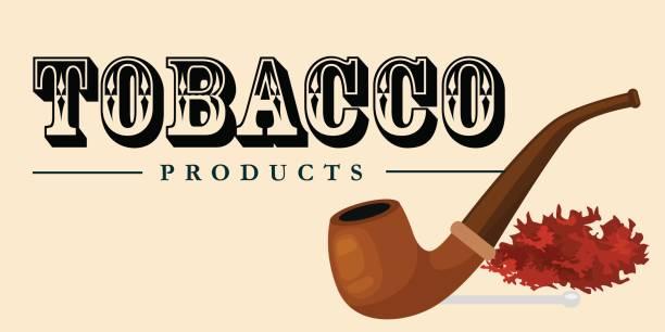 hölzerne pfeife und tabak rauchen und rauchen ausrüstung-vektor-illustration - blackpool stock-grafiken, -clipart, -cartoons und -symbole