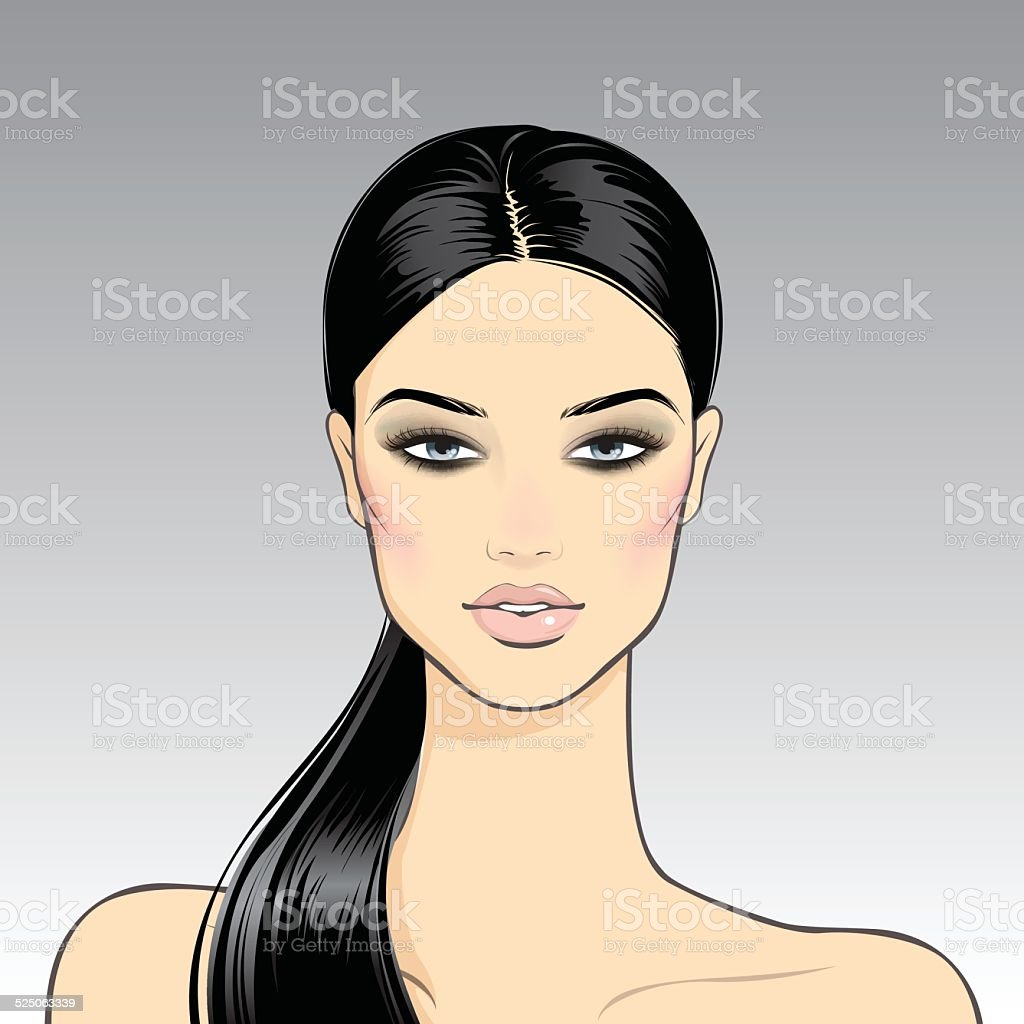 Smoky Eyes. Brunette vector art illustration