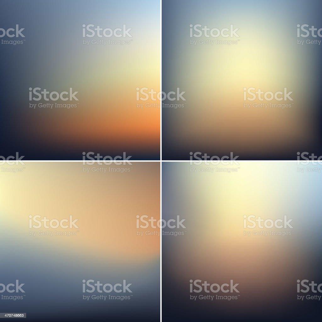Smooth defocused blur backgrounds set vector art illustration