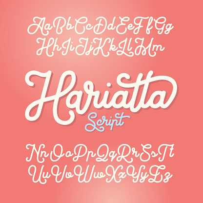 Smooth monoline script font named Harietta