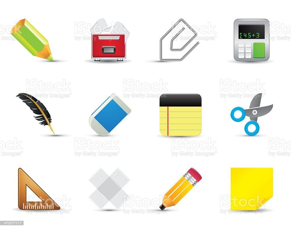 Lisa seda icono set art culos de oficina arte vectorial for Articulos de oficina