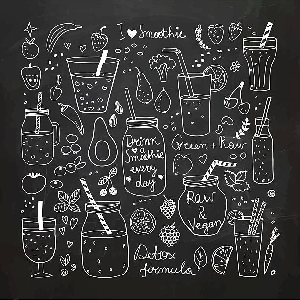 stockillustraties, clipart, cartoons en iconen met smoothie and raw food collection. hand drawn vector icons - sapjes