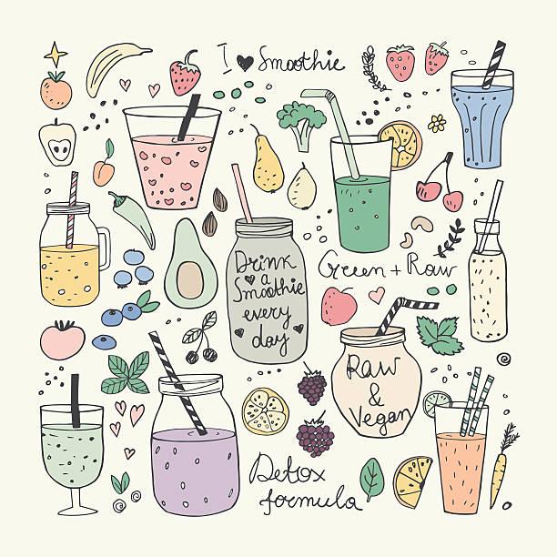 illustrazioni stock, clip art, cartoni animati e icone di tendenza di smoothie and raw food collection. hand drawn vector icons - healthy green juice