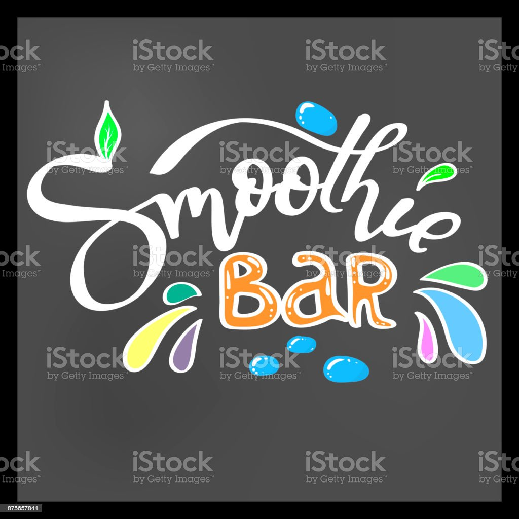 smoothie bar hand lettering with decorative elements