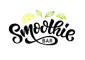 Smoothie bar vector symbol badge, Healthy drinks calligraphy symboltype. Hand written modern lettering for cafe, menu. Vintage retro style.