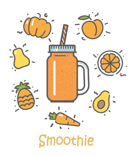 bildbanksillustrationer, clip art samt tecknat material och ikoner med smoothie cocktail och ingredienser - smoothie