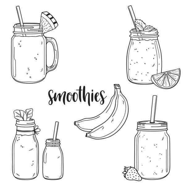 bildbanksillustrationer, clip art samt tecknat material och ikoner med smoothie samling - smoothie