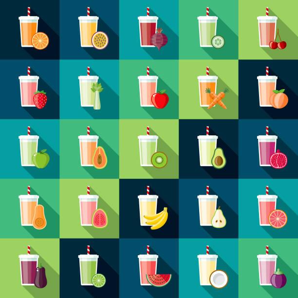 illustrations, cliparts, dessins animés et icônes de smoothie saveurs icon set - tasse flat