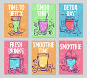 Smoothie flyers. Colorful smoothies poster, fresh cocktails, detox drinks healthy life vegan organic food banners vector menu juice drinking design