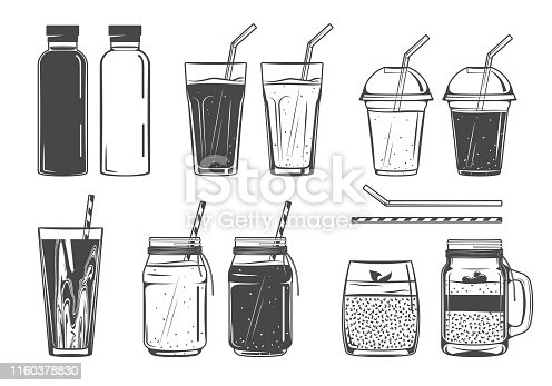 Smoothie, fresh juice, chia pudding icons; vector set