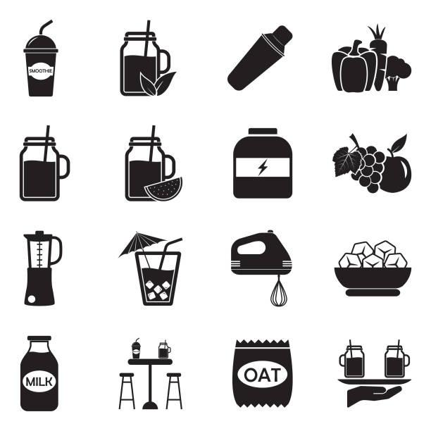 bildbanksillustrationer, clip art samt tecknat material och ikoner med smoothie-ikoner. svart platt design. vektorillustration. - smoothie
