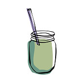 Vector illustration of a cartoonish smoothie in a jar. Cut out design element for a healthy lifestyle and eating, restaurants and bars, breakfast, lunch and dinner ideas and concepts, for social media and online messaging, meetings and social gatherings.