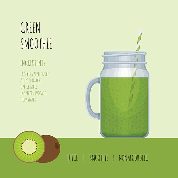 illustrazioni stock, clip art, cartoni animati e icone di tendenza di smoothie jar - healthy green juice
