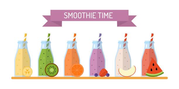 bildbanksillustrationer, clip art samt tecknat material och ikoner med smoothie burkar set - smoothie