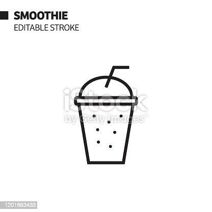istock Smoothie Line Icon, Outline Vector Symbol Illustration. Pixel Perfect, Editable Stroke. 1201863433